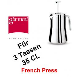 Giannini,3 Tassen, 35 cl, French Press, Edelstahl, Aufgusskanne, Pressstempelkanne, Thermofunktion